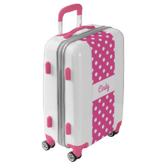 Custom girly pink polka dot girls luggage suitcase