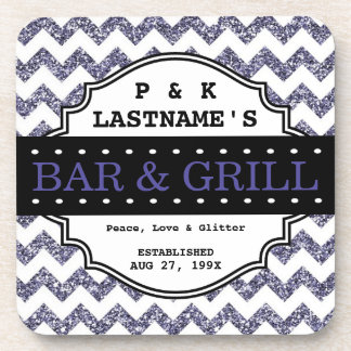 Custom Girly Purple Glitter Bar and Grille Drink Coasters