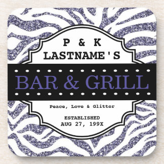 Custom Girly Purple Glitter Bar and Grille Beverage Coaster