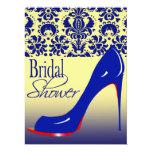 Custom Glam Damask Stiletto Bridal Shower for Lynn 6.5x8.75 Paper Invitation Card
