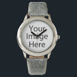 "Custom Glitter Strap Stainless Steel Faced Watch<br><div class=""desc"">Create your own personalized glitter strap watch by adding your own designs,  text or images.</div>"