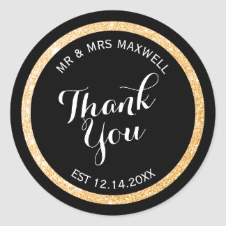 Custom Gold and Black Glitter Thank You Classic Round Sticker