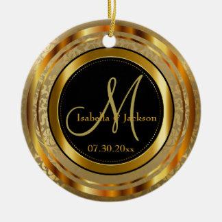 Custom Gold and Black Wedding or Anniversary Ceramic Ornament