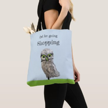 Beach Themed Custom Gold and Silver Burrowing Owl Tote Bag