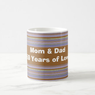 Custom Gold Anniversary and Lavender Striped Mug