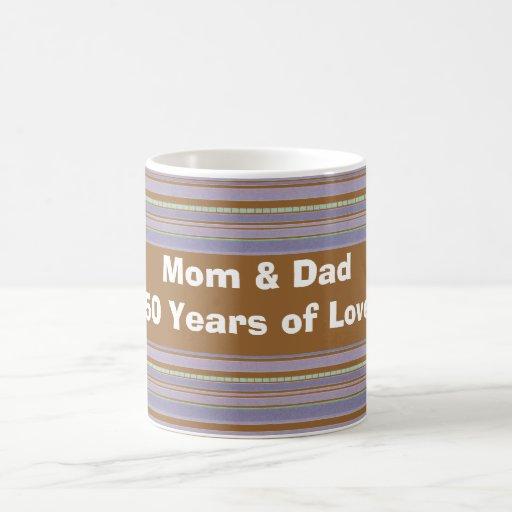 Custom Gold Anniversary and Lavender Striped  Mug