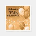 Custom Gold Balloons with White Birthday Paper Napkins