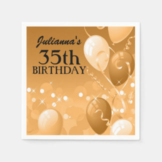 Custom Gold Balloons with White Birthday Paper Napkins