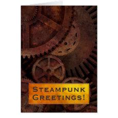 Custom Gold Brass and Steampunk Gears Card