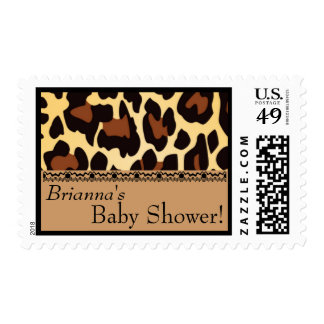 Custom Gold Chocolate Black Leopard Baby Shower Stamps