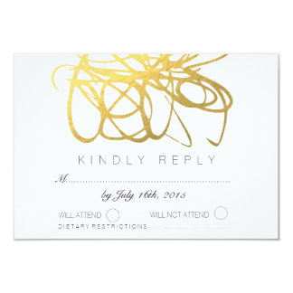 Custom Gold Foil Effect Wedding RSVP Reply Card