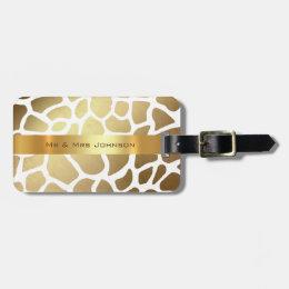 Custom Gold Giraffe Lampart Skin Luggage Bag Tag