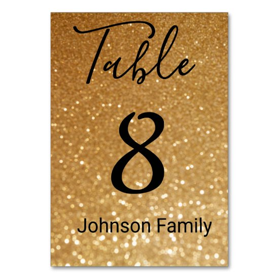 custom, gold glitter background table number