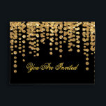 """Custom Gold Glitter Confetti with Black Background Envelope<br><div class=""""desc"""">A beautiful gold glitter confetti look envelope with confetti sprinkles. (Note: This is a graphic art print and contains no glitter). Envelope color and font can be easily changed.</div>"""
