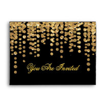 Custom Gold Glitter Confetti with Black Background Envelope