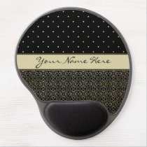 Custom Gold Glitter Polka Dots & Geometric Pattern Gel Mouse Pad