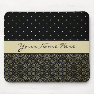 Custom Gold Glitter Polka Dots & Geometric Pattern Mouse Pad