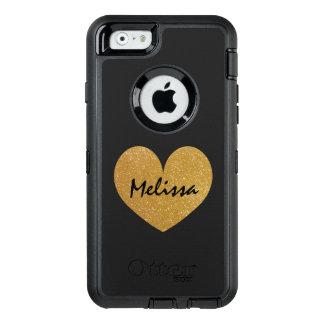 Custom gold glitter print iPhone 6 Otterbox case