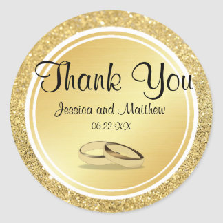 Custom Gold Glitter Thank You Wedding Stickers
