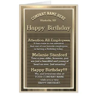 Custom Gold Happy Birthday Sign Card