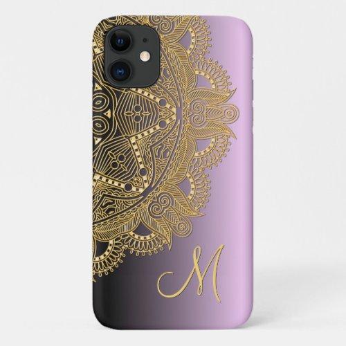 Custom Gold Mandala Art Pattern On Pink Purple Phone Case