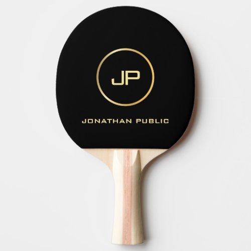 Custom Gold Monogram Elegant Black Template Ping Pong Paddle