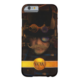 Custom Gold Monogram Steampunk Captain Barely There iPhone 6 Case
