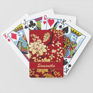 Custom Gold Oriental Flowers on Red Bicycle Card Decks