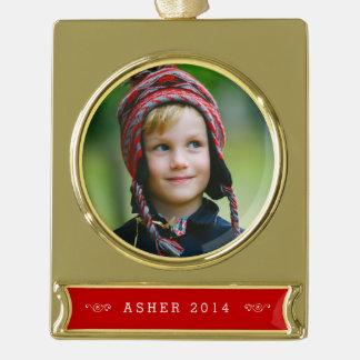 Custom Gold & Red Photo Ornament