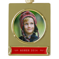 Custom Gold & Red Photo Ornament Gold Plated Banner Ornament