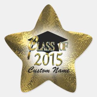 Custom Gold Star Class Of 2015 Sticker