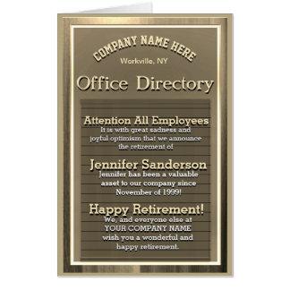 Custom Gold Vintage Retirement Sign Card