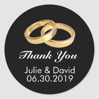 Custom Gold Wedding Rings Thank You Classic Round Sticker
