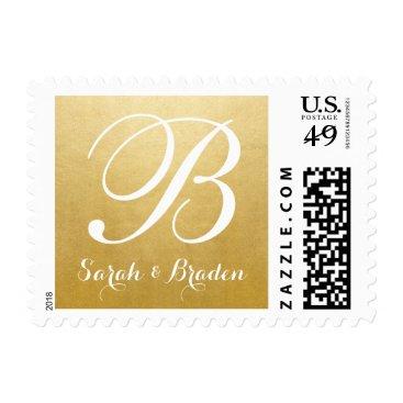 Beach Themed Custom Gold & White Monogram Names Wedding Stamp