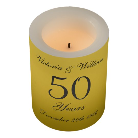 Custom Golden 50th Wedding Anniversary Candle Gift