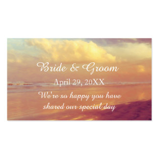 Custom Golden Dawn Beach Wedding Favor Tag Double-Sided Standard Business Cards (Pack Of 100)