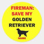 Custom Golden Retriever Fire Safety Round Sticker