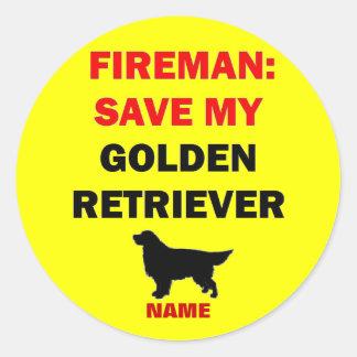 Custom Golden Retriever Fire Safety Classic Round Sticker
