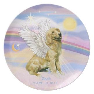 CUSTOM - Golden Retriever ZACK in Heaven's Clouds Dinner Plate