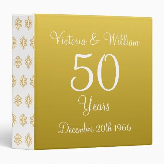 Custom Golden Wedding Anniversary Scrapbook Gift 3 Ring Binder