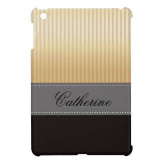 Custom Golden Yellow Stripes Grey Black Pattern Cover For The iPad Mini