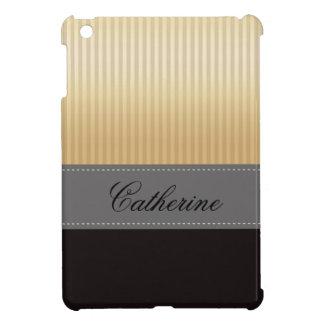 Custom Golden Yellow Stripes Grey Black Pattern iPad Mini Case