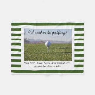 Custom Golfing Golf Photo Green & White Stripes Fleece Blanket