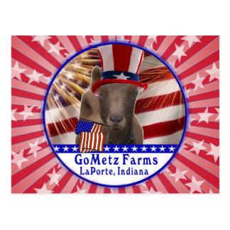 CUSTOM GOMETZ FARMS PATRIOTIC GOAT POSTCARD