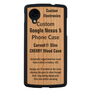 Custom Google Nexus 5 Cherry Real Wood Phone Case