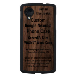 Custom Google Nexus 5 Walnut Real Wood Phone Case