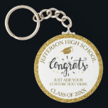 "Custom Graduation Congrats Grad Gold Class of 2018 Keychain<br><div class=""desc"">A cool Graduation keychain featuring a graduation cap,  festive Congrats text and your custom text - add your school,  class of year,  and custom text (name,  date,  degree,  etc.)  all framed by a faux gold glittery background. Perfect for graduation a party favor or gift..</div>"
