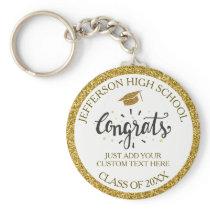 Custom Graduation Congrats Grad Gold Class of 2018 Keychain