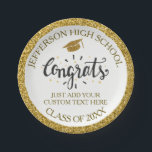 "Custom Graduation Congrats Grad Gold Class of 2018 Paper Plate<br><div class=""desc"">Graduation paper plates featuring a graduation cap,  festive Congrats text and your custom text - add your school,  class of year,  and custom text (name,  date,  degree,  etc.)  all framed by a faux gold glittery background. Perfect for graduation parties and celebrations.</div>"