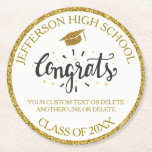 "Custom Graduation Congrats Grad Gold Class of 2018 Round Paper Coaster<br><div class=""desc"">Graduation coaster featuring a graduation cap,  festive Congrats text and your custom text - add your school,  class of year,  and 2 lines of custom text (student name,  date,  degree,  etc.)  all framed by a faux gold glittery background. Perfect for graduation parties and favors.</div>"